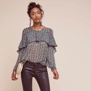 Anthropologie Sunday In Brooklyn Floral Ruffle Top